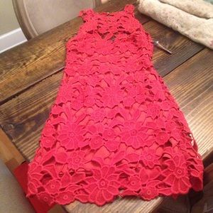 NWT Saylor floral cutout red ooen back dress S